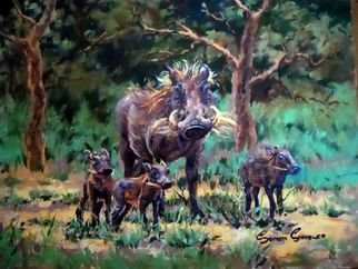 Wildlife Oil Painting by Sonja Grobler titled: Warthog Family, created in 2013
