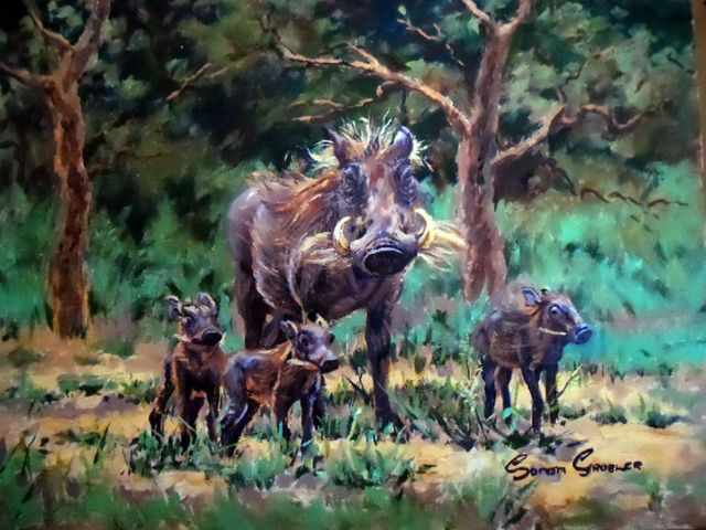 Sonja Grobler  'Warthog Family', created in 2013, Original Painting Oil.