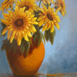 Colleen Balfour: 'Summer Flowers', 2014 Oil Painting, Floral. Artist Description: The strong sunshine colours of the Sunflower and blue and terracotta tones are the colours of summer in South Africa....