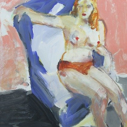 , Nude In Blue, Abstract, $341