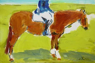 Colleen Ross: 'raleigh in pasture', 2017 Acrylic Painting, Horses. Artist Description: Horse, rider, dressage, jockey, green, brown, abstract, impressionistic, figurative, modern, pop...