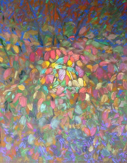 Bernard Collet  'Leaves Ball', created in 2005, Original Painting Acrylic.