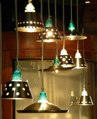 Collin Allen: 'Glass Insulator Lights Quantity 12', 2016 Indoor Installation, Interior. Artist Description: This is the set of 12 lights. These lights are made from recycled materials with insulators being around 100 years old. Some will have some knicks and scratches and they are part of the lights and add to the artistic theme of the lights. ...