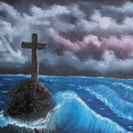 Monika Phillips: 'A Cross the Sea of Hope', 2008 Oil Painting, Seascape. Artist Description:  This painting haunted my dreams until I could get it to canvas.  Now there is peace. ...