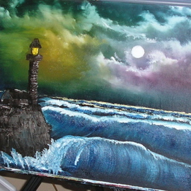 Monika Phillips: 'Lighthouse Sentry', 2008 Oil Painting, Seascape. Artist Description:  This painting was inspired by a story heard from my childhood and one of my favorite painters ...