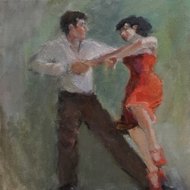Tango in Greens and Orange By Connie Chadwell