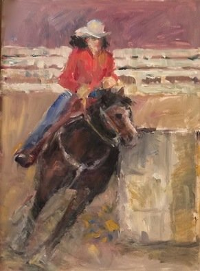 Connie Chadwell: 'barrel racer', 2018 Oil Painting, Western. Artist Description: Connie Chadwell, oil, figurative, horse, rodeo, western, barrel racer, ...