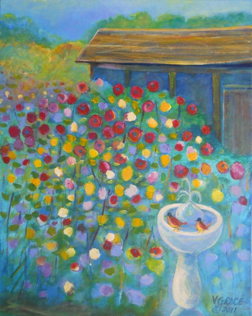 Arnold Grace Jr  'Garden With Bird Bath And Old House,', created in 2011, Original Printmaking Giclee.