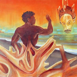 Arnold Grace Jr: 'Rising Youth Seeks Ancient Wisdom', 1993 Oil Painting, Surrealism. Artist Description: ARCHIVAL MATT PAPER PRINTS- $80. original fineart painting, impressionism, fine art, surrealist painting, surrealism, arnold grace fine art, african art themes, african mask, driftwood on beach, youth, young man, dream scape art, arnold victor grace jr, figurative art, surrealistic art, sea scape, sunset art, ...