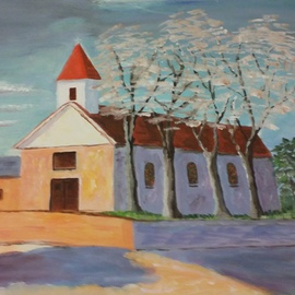 Catherine Rann: 'Church In Autumn', 1994 Acrylic Painting, Christian. Artist Description: Painting Acrylic SimplisticChurch In Autumn Christian Catholic Religious Seasional ...