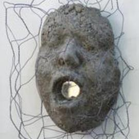 Mary Cook: 'Trapped', 2003 Other Sculpture, Abstract Figurative. Artist Description:  Concrete face with mirror and chicken wire. ...