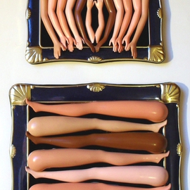 Paul Cooper: 'Barbie Arms And Legs', 2009 Mixed Media Sculpture, Surrealism. Artist Description:  barbie doll parts glued into a pair of matching recycled picture frames, one with arms and one with legs.     ...