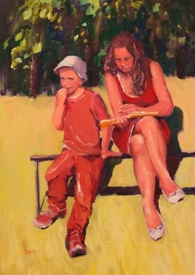Karen Cooper: 'good story', 2016 Oil Painting, Figurative. - a mellow summer day in Lipetsk -mom and son sharing a book in Bykhanov Cad parkClassic, gallery- look, satin black wood frame...