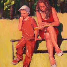 Karen Cooper: 'good story', 2016 Oil Painting, Figurative. Artist Description: - a mellow summer day in Lipetsk -mom and son sharing a book in Bykhanov Cad parkClassic, gallery- look, satin black wood frame...