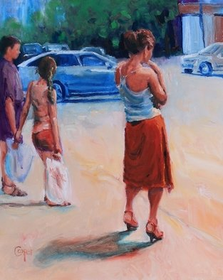 Karen Cooper: 'one hot day on sovetskaya', 2016 Oil Painting, Figurative. Ulitsa Sovetskaya, waiting for the crossing signal, soaking up the sunshineblack canvas floater framelovely in red...