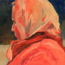 Karen Cooper: 'pretty scarf in bryansk', 2017 Oil Painting, Figurative. Artist Description: from the seriesLooked Out The Bus Window And There You Were- a woman in a beautiful scarf, done in lots of lovely red...