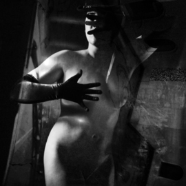 Corrie Ancone: 'La Femme', 2012 Black and White Photograph, nudes. Artist Description:  photographic overlay  manipulation photographic overlaynude figurative grey yellow ...