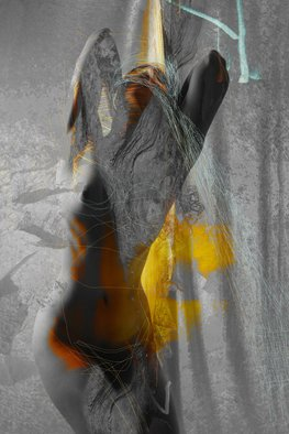Corrie Ancone: 'whispers', 2012 Color Photograph, nudes. Artist Description:  photographic overlay  manipulation photographic overlaynude figurative grey yellow ...