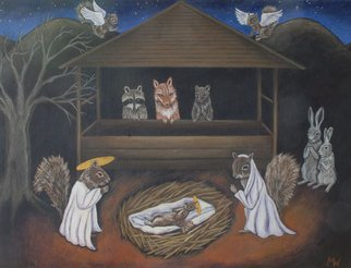 Michelle Waters: 'Forest Nativity', 2008 Acrylic Painting, Satire.