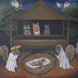 Michelle Waters Artwork Forest Nativity, 2008 Acrylic Painting, Satire