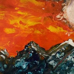 , Moon Fire Mountains, Abstract Landscape, $368