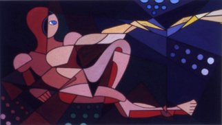 Richard Olmstead Artwork Creation of Adam Abstract , 1960 Tempera Painting, Abstract Figurative