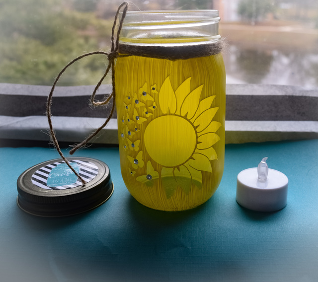 Amber Coombe  'Sunflower Craft Jar', created in 2020, Original Crafts.