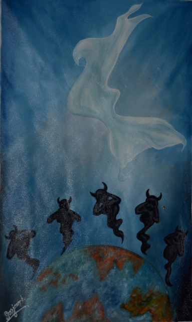 Jiss Joseph  'The  Resurrection Of Jesus', created in 2012, Original Painting Oil.