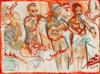 Sheri Smith: 'Russel Alexander and Wilkes', 2013 Etching, Music. Frank Russel and Dee Alexander and Corey Wilkes Hangin Tight ...