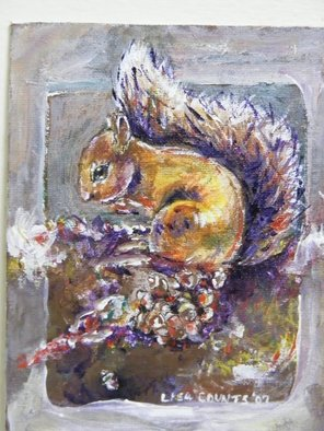 Animals Acrylic Painting by Lisa Counts titled: Squirrel, created in 2007