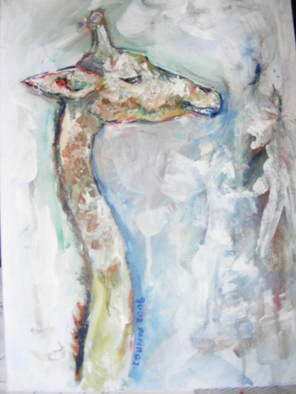 Animals Acrylic Painting by Lisa Counts titled: giraffe, created in 2007