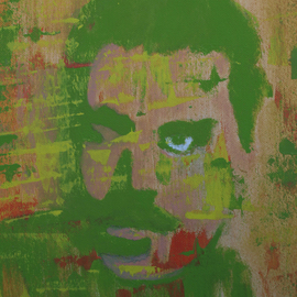 Crina Iancau: 'In Shades Of Green', 2015 Oil Painting, Portrait. Artist Description:   portrait, man, Art deco, abstract, music   ...