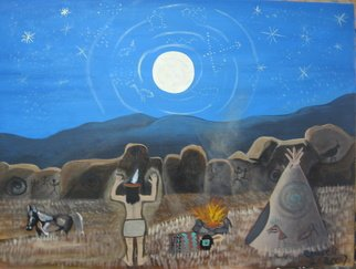 Merle Cruser: 'Moonglow', 2007 Acrylic Painting, Culture.  I wanted to show the American Indian spiritual beliefs,  the cleansing in the moonlight. real or just my thoughts of a possible ritual.  I found peace in doing it. ...