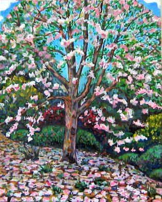 Landscape Acrylic Painting by David Cuffari Title: Flowering Tree, created in 2006