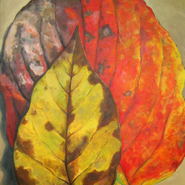 David Cuffari: 'Leaves', 2008 Acrylic Painting, Still Life. Artist Description:  Two autumn leaves. I love autumn leaves with all their colors and blotches. To me they represent a protective mother and her awkward child. Oh well, I tend to ascribe human attributes to everything.     ...