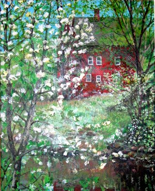 Landscape Acrylic Painting by David Cuffari Title: Red House and Trees, created in 2007