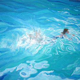 David Cuffari Artwork Swimmer in the Water, 2004 Acrylic Painting, Abstract Figurative