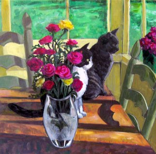 Cats Acrylic Painting by David Cuffari Title: Two Cats, created in 2008