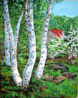 Landscape Acrylic Painting by David Cuffari Title: birch trees, created in 2005