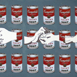 Leonard Curpan: 'Shark Soup', 2009 Acrylic Painting, Conceptual. Artist Description:   Shark soup is a work that reveals the current situation of the Romanian people. We live in a country where one hand wash the other, where justice is virtually non- existent, where ordinary people seek to escape what he thought he had dreamed and then 89 ...