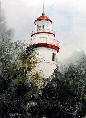 Artist: Charles Rowland - Title: Marblehead Lighthouse - Medium: Watercolor - Year: 2001