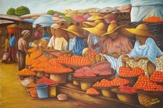 Chris Omeruo: 'tomato and pepper sellers', 2011 Oil Painting, Indiginous. This is the precise, detailed and accurate representation of a market scene in an Urban settlement in Lagos where Tomatoes and Peppers are being sold. . .  Put in one word - Realism.  This is where i usually buy these stuffs in large quantity and very low price.  At some point i thought ...