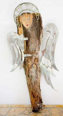 Czeslaw Nowakowski: 'Standing angel', 2015 Mixed Media Sculpture, Religious. Artist Description:  wood and metal sculpture, expressionism, abstract  ...