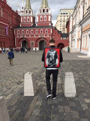 Ilia Sokolov: 'pharaon of the soviet union', 2017 Mixed Media, Political. Artist Description: the artist, Ilia Sokolov , wears his pictures on his back. his work is not tied to galleries. the project is social and long- lasting. He travels with them to different cities and countries, saying that creativity should be free and accessible to all. is proud of the fact ...