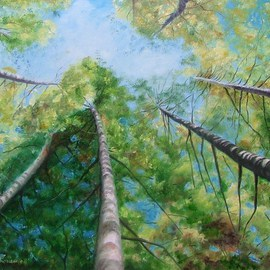Debra Derouen Artwork AVERY ISLAND TREE TOPS, 2008 Oil Painting, Landscape