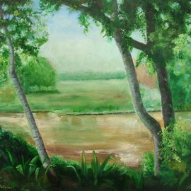 Debra Derouen Artwork BAYOU TECHE, 2008 Oil Painting, Landscape