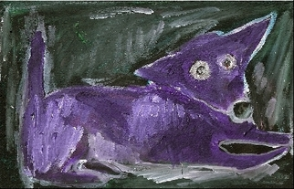 Animals Acrylic Painting by Katie Pfeiffer titled: Goth Chihuahua Dog , created in 2007