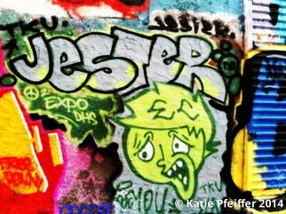 Katie Pfeiffer: 'Graffiti Wall Number Three Jester', 2014 Color Photograph, Urban. Artist Description:            Part  of a  series- this is a  graffiti wall I took a photograph of  and then digitally altered.  (c) Katie Pfeiffer 2014All Rights ReservedPrints available                                                                ...