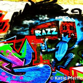Katie Pfeiffer: 'Graffiti Wall  Razz Philly', 2014 Color Photograph, Urban. Artist Description:              Part  of a  series- this is a  graffiti wall I took a photograph of  and then digitally altered.  (c) Katie Pfeiffer 2014All Rights ReservedPrints available                                                                  ...