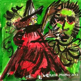 Katie Pfeiffer Artwork Pendle Hill Witch Number Two, 2013 Ink Painting, Psychic